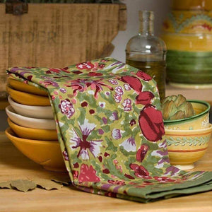 Jardin Red with Green Tea Towel