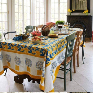 "Lemon Tree Yellow & Blue Tablecloth 71"" x 106"""