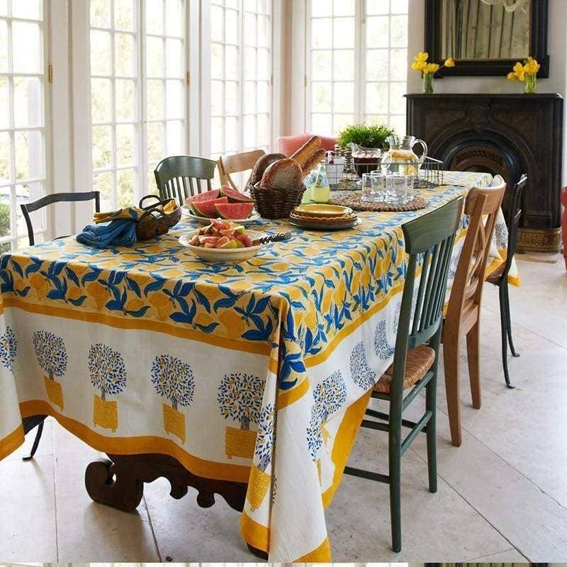 Lemon Tree Yellow & Blue Tablecloth 59