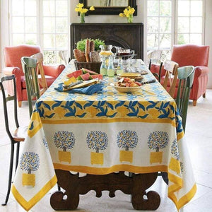 "Lemon Tree Yellow & Blue Tablecloth 71"" x 128"""