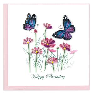 Quilling Card - Birthday Flowers & Butterflies