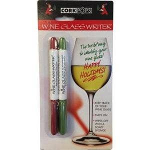 Cork Pops Inc - Red and Green Wine Glass Pens