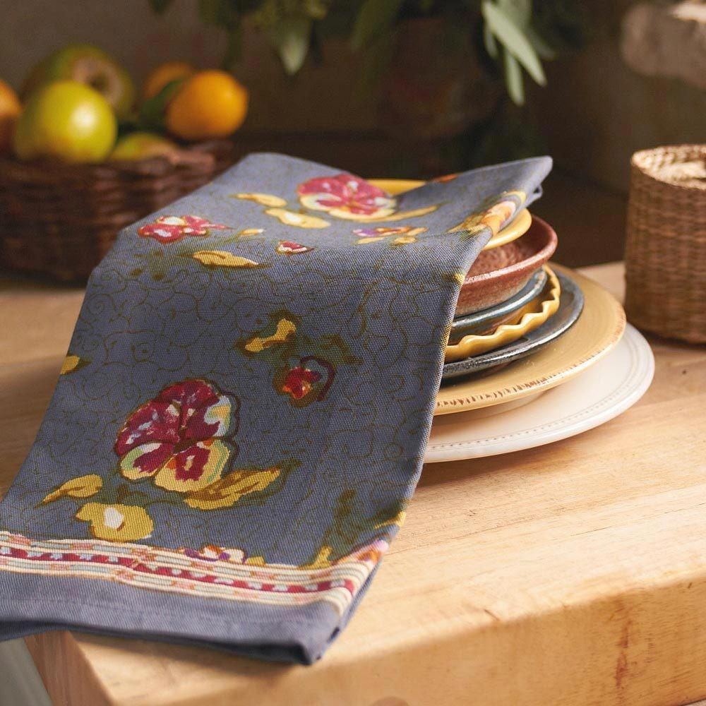 Pansy Grey Tea Towel