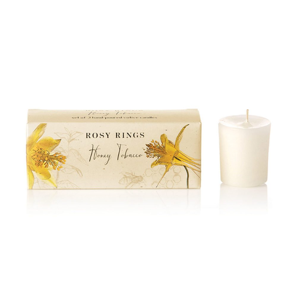 Rosy Rings Honey Tobacco Votive Candle (Box of 3)