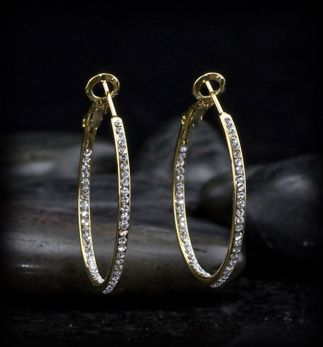 Inside Out CZ Hoop Earring
