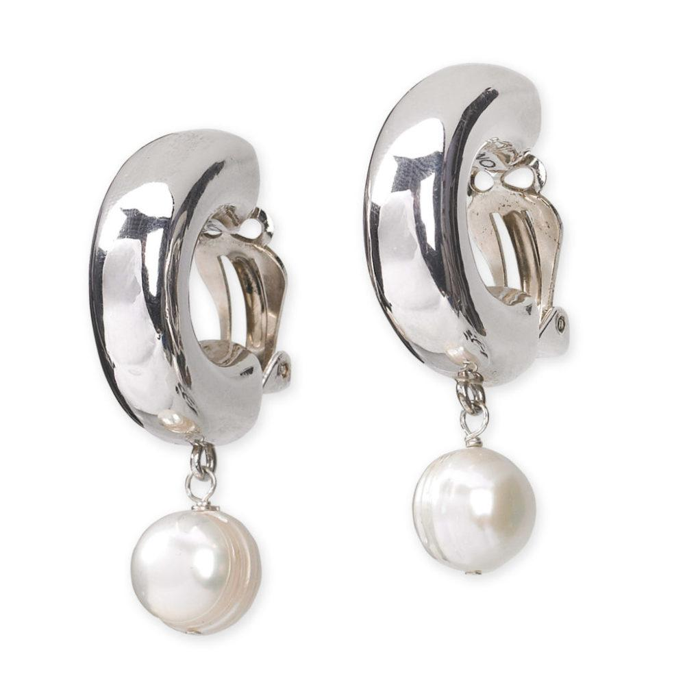 Sterling Hoop with Pearl (Clip)