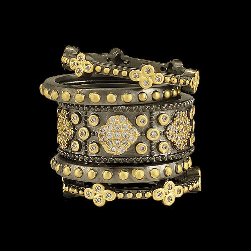 Stackable 5 Piece Gunmetal Rings with Gold Accent