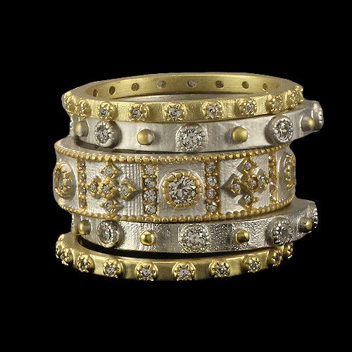 Stackable 5- Piece Silver and Gold Rings