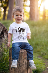 2nd Baby Boy T-Shirt - I Am Two Peace Sign