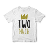 2nd Birthday Boy T-Shirt - Mr. Two Much (Black and Gold)