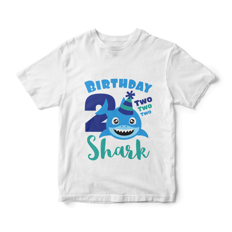 2nd Birthday Boy T Shirt - Shark (Aqua and Blue)