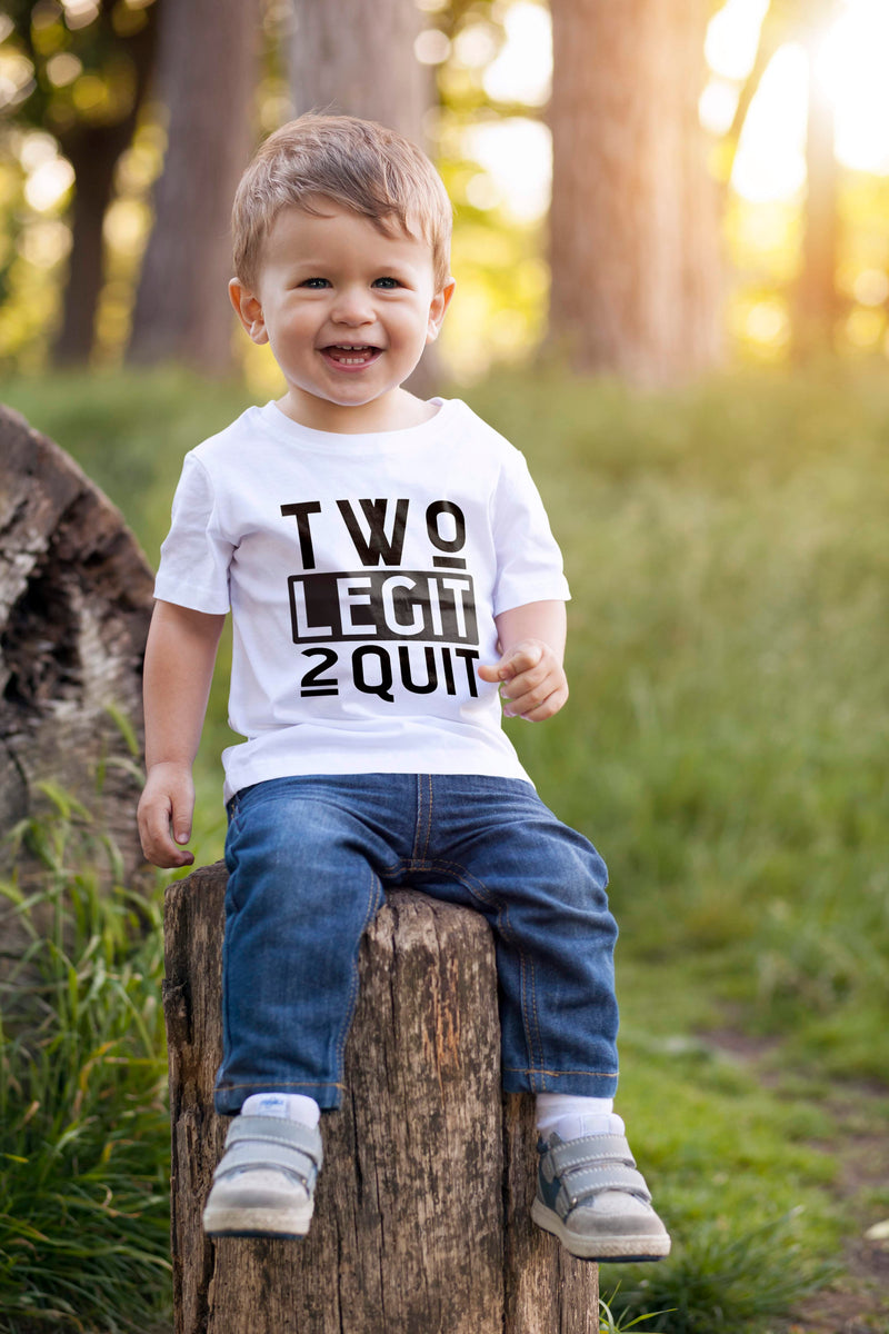 2nd Birthday Boy T Shirt - Two Legit 2 Quit