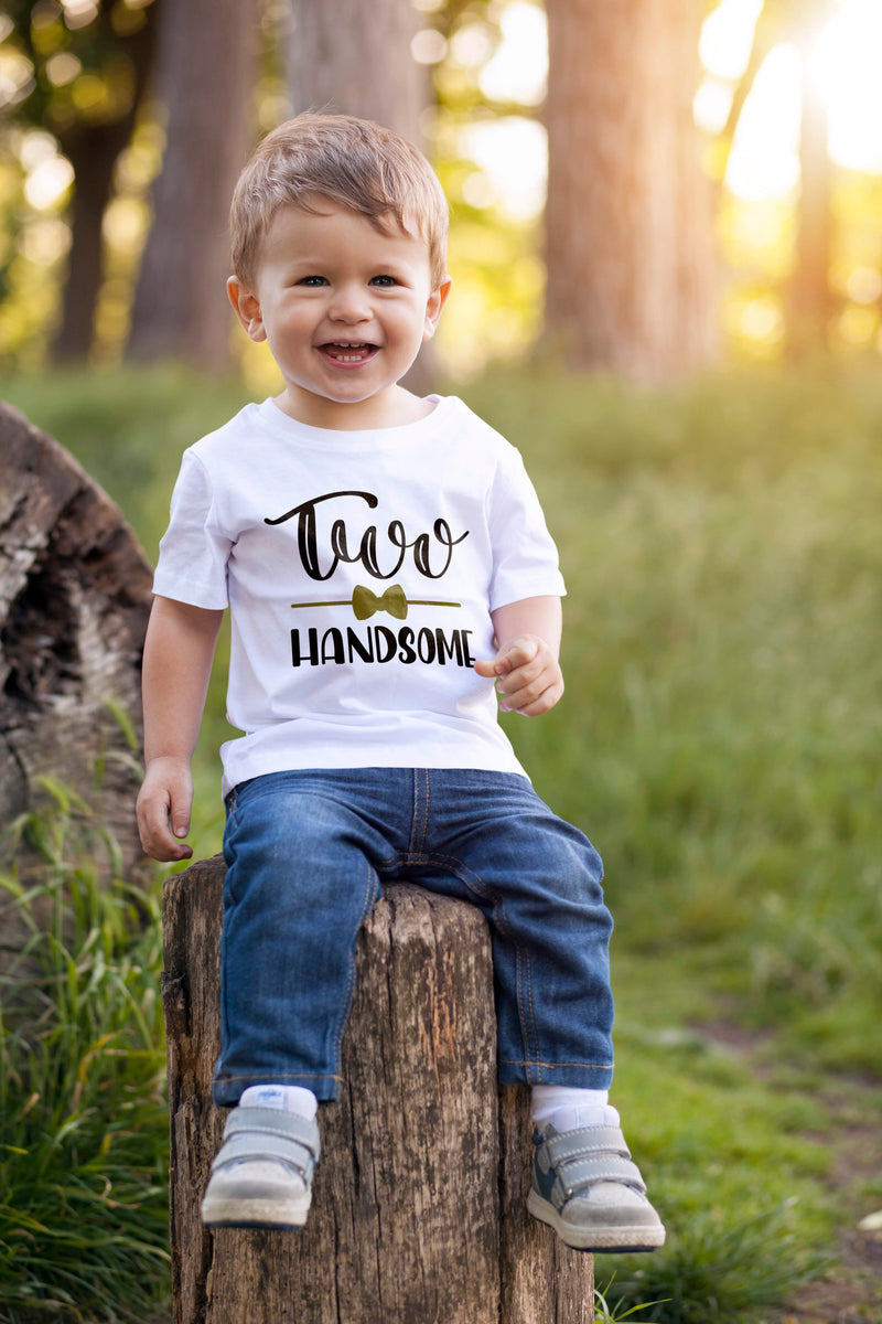 2nd Birthday Boy T Shirt - Mr Two Handsome (Black and Gold)