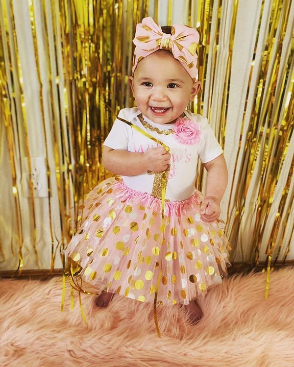 My First Birthday Girl Tutu Outfit - Pink and Gold Dots