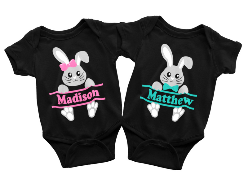 Twin Set - Personalized Easter Shirts - Gray Bunny