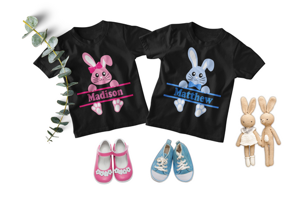 Easter Twin Toddler Set - Personalized Bunnies in Pink and Blue