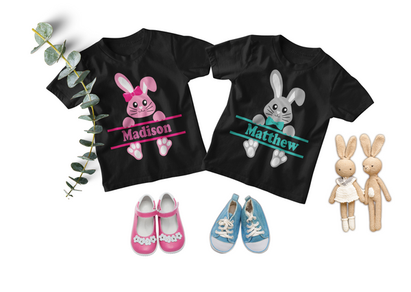 Easter Twin Toddler Set - Personalized Bunnies in Pink and Green