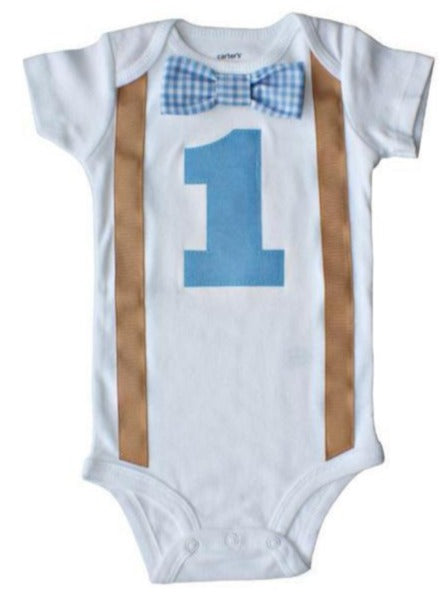 1st Birthday Outfit Baby Boys Blue Gingham Khaki