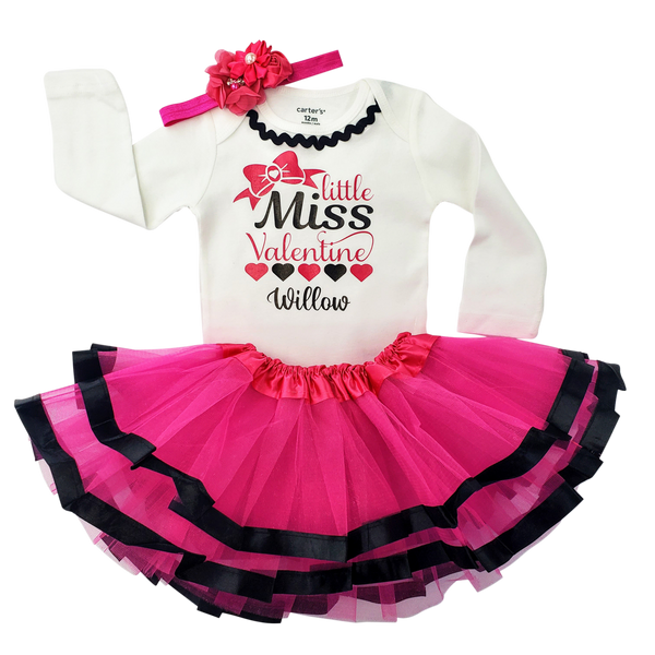 Little Miss Valentine Tutu Set - Pink/Black