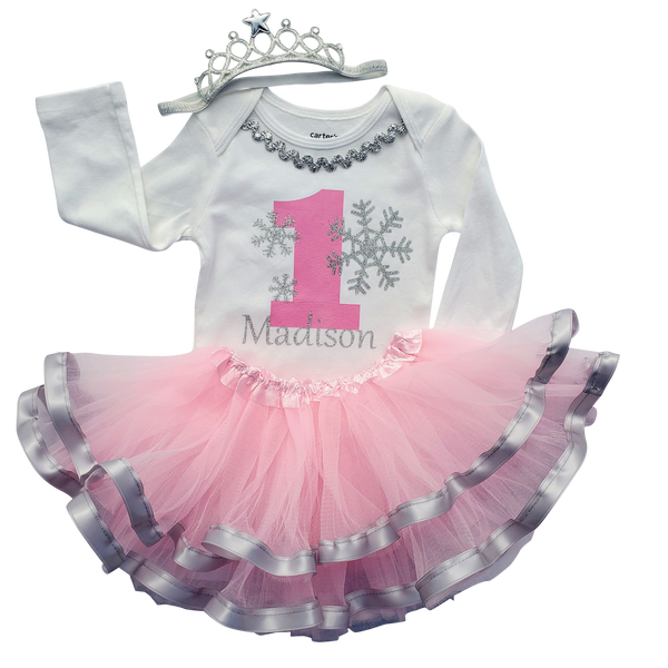 1st Birthday Girl Personalized - Pink Silver Winter Onederland