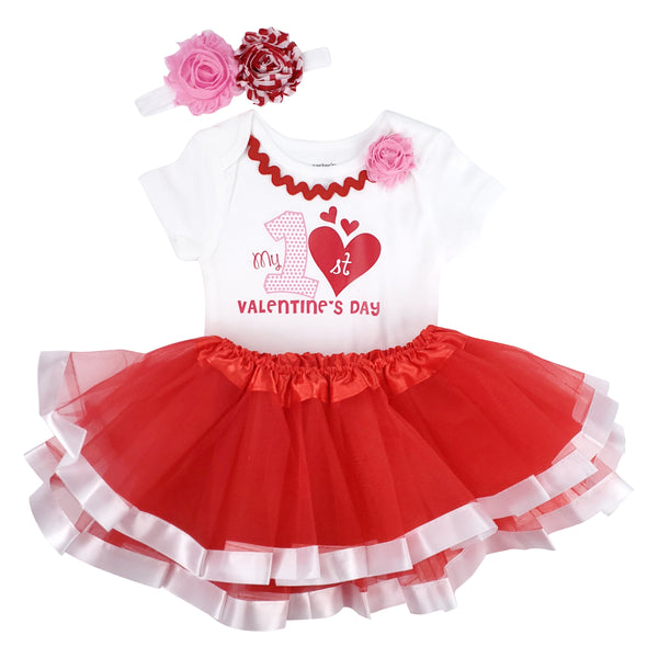 My First Valentine's Day Tutu Set- Red/Pink