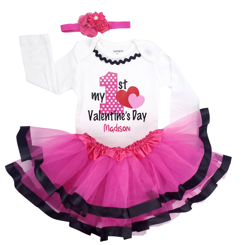 My First Valentine's Day Tutu Set - Hot Pink/Black