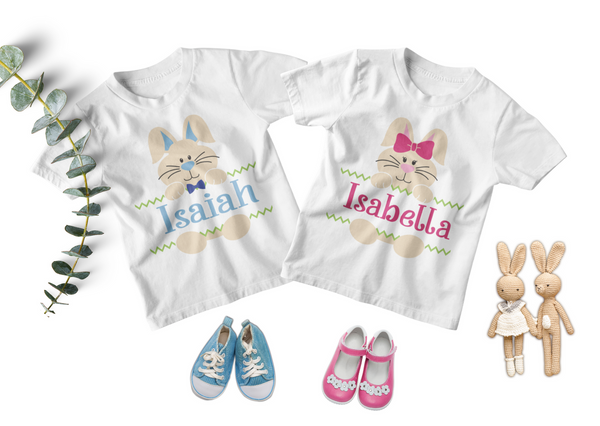 Easter Twin Toddler Set - Personalized Bunnies