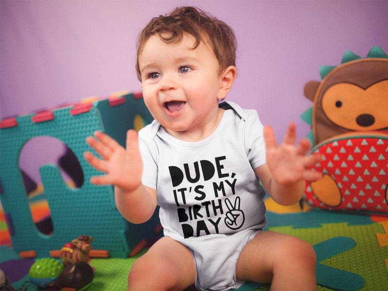 1st Baby Boy Bodysuit  - First Birthday Outfit - Dude It's My Birthday