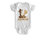 1st Baby Boy Bodysuit  - First Birthday Outfit - Giraffe