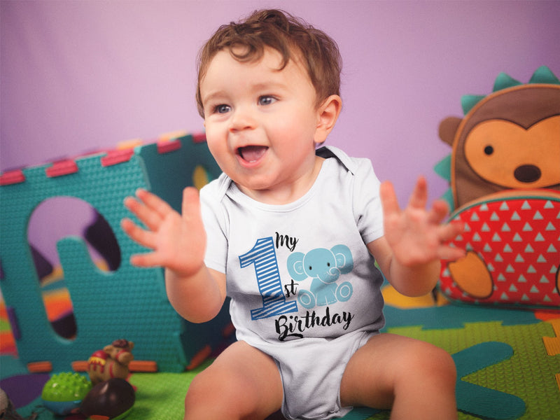 1st Baby Boy Bodysuit  - First Birthday Outfit - Elephant