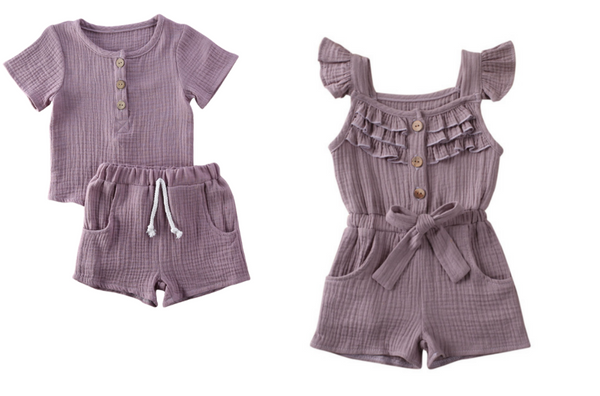 Boy Girl Twin Romper Set - Lavender