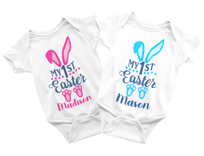 Easter Twin Set - Personalized Bunnies Pink and Blue