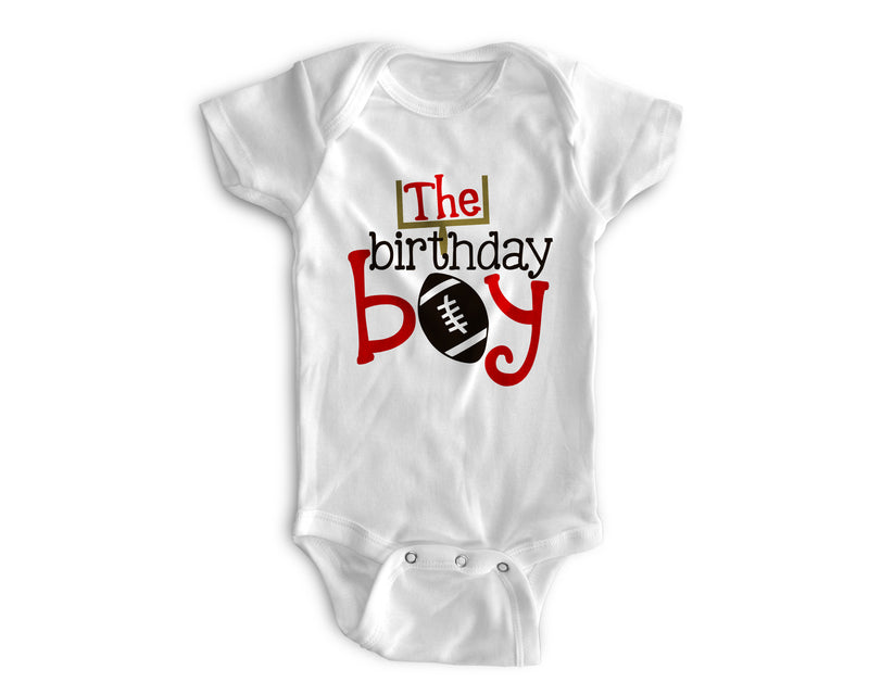 1st Baby Boy Bodysuit  - First Birthday Outfit - Football