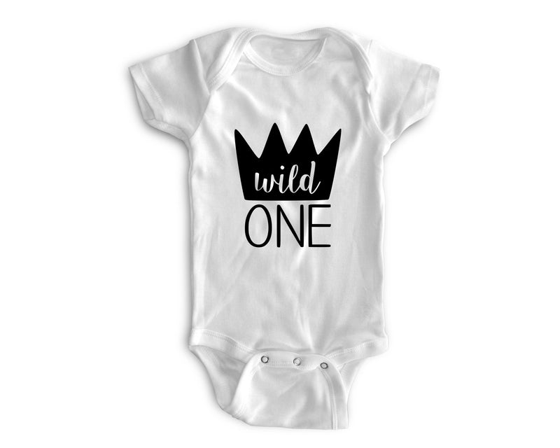 1st Baby Boy Bodysuit  - First Birthday Outfit - Wild One