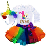 1st Birthday Outfit Baby Girl Tutu - Rainbow Unicorn