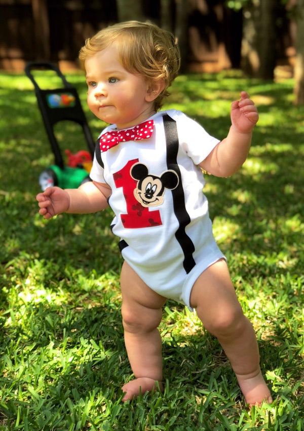 Boys Outfit 1st Birthday Mickey Mouse Bodysuit RED