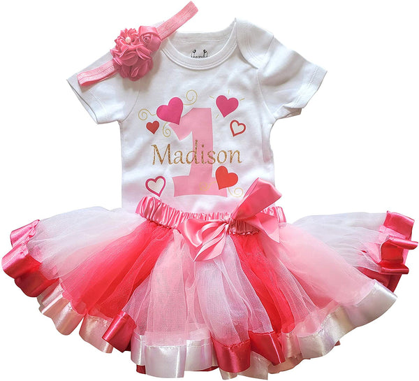1st First Birthday Girl Personalized Hearts Tutu - Pink/White