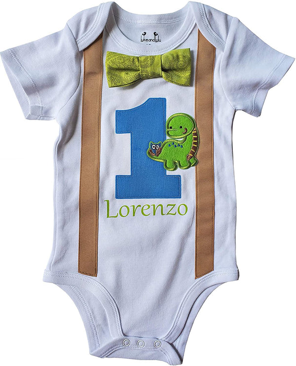 1st Baby Boy Bodysuit Personalized - First Birthday Outfit - Dino Bow Tie