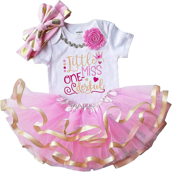 1st First Birthday Baby Girl Tutu Outfit - Little Miss Onederful Pink and Gold