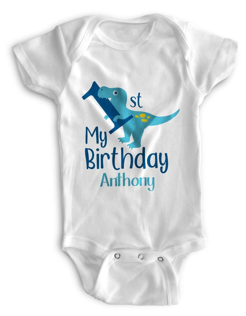 1st Baby Boy Bodysuit Personalized - First Birthday Outfit - Blue DIno
