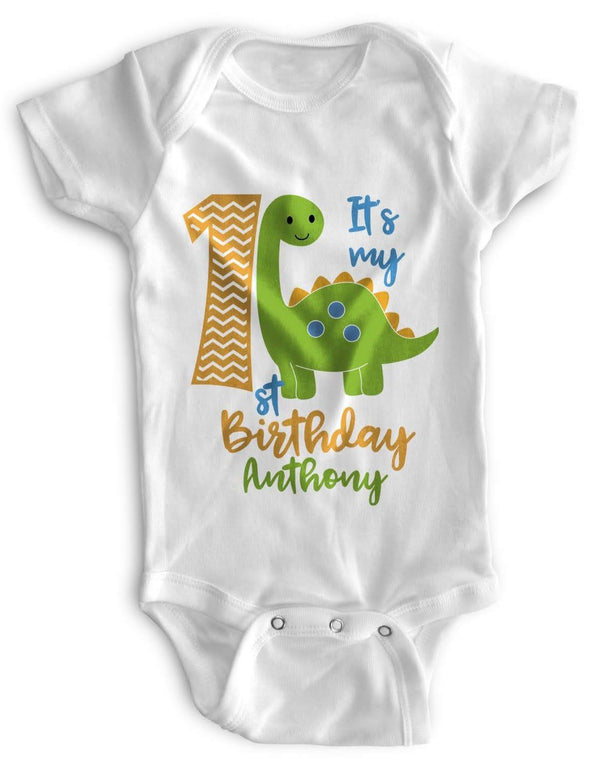 1st Baby Boy Bodysuit Personalized - First Birthday Outfit - Green DIno