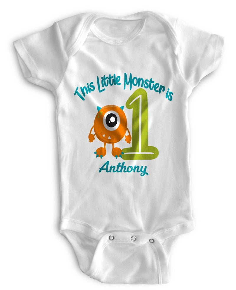 1st Baby Boy Bodysuit Personalized - First Birthday Outfit - Monster