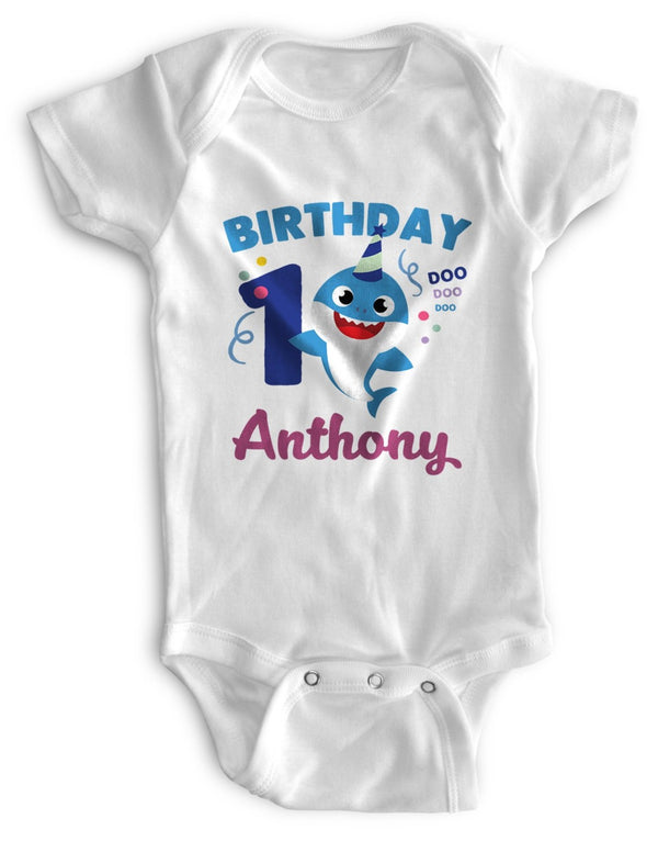 1st Baby Boy Bodysuit Personalized - First Birthday Outfit - Baby Shark
