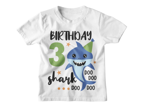 3rd Birthday Boy T-Shirt - Shark - Aqua and Olive