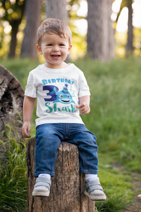 3rd Birthday Boy T-Shirt - Shark - Aqua and Green