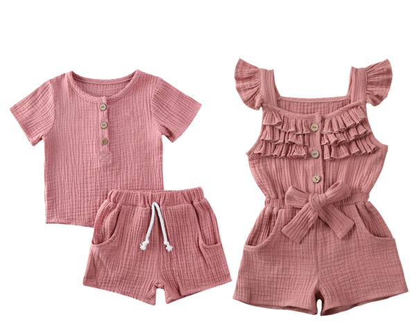 Boy Girl Twin Romper Set -  Mauve