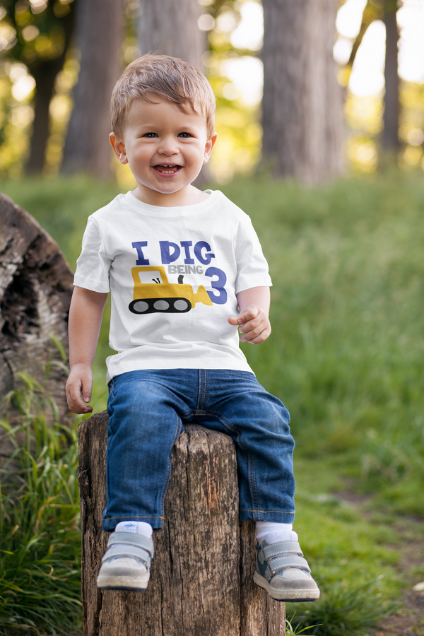 3rd Birthday Boy T-Shirt - I Dig Being Three
