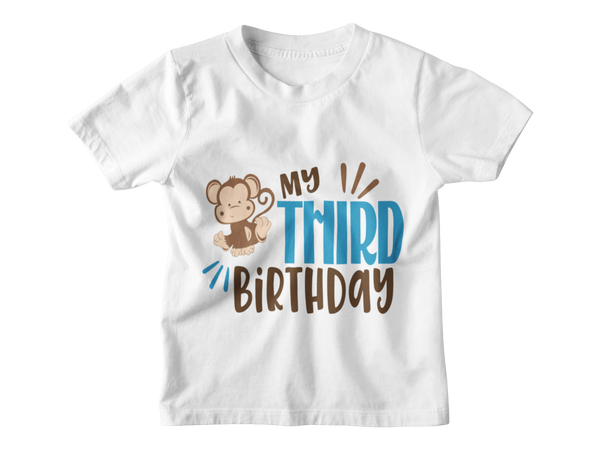 3rd Birthday Boy T-Shirt - My Third Birthday - Monkeying Around