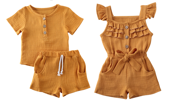 Boy Girl Twin Romper Set -  Mustard