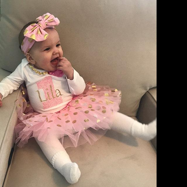 1st Birthday Girl Pink and Gold Dot Tutu Set
